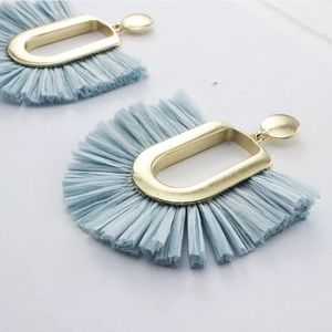 Anthropologie Ellie raffia earrings in blue ice